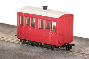 Small 4-wheel coaches were the usual choice for narrow gauge railways, being well suited to the small gauge and sharp curvature of many of these lines. The Glyn Valley Tramway purchased a number of generally similar 4 wheel coaches, with a better standard of fittings in the first class compartments.This ready to run model is of one of the fully enclosed coaches used year-round on the GVT line finished in plain red livery without lettering, ideal for free-lance narrow gauge model railways.Peco are usually able to supply us with their models quickly, please allow 14 days for delivery.