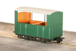 Small 4-wheel coaches were the usual choice for narrow gauge railways, being well suited to the small gauge and sharp curvature of many of these lines. The Glyn Valley Tramway purchased a number of generally similar 4 wheel coaches, with a better standard of fittings in the first class compartments.This ready to run model is of one of the GVT open sided observation coaches used during the summer season, the open sides giving tourists a better view of the panoramic scenery. Finished in plain green livery without lettering, ideal for free-lance narrow gauge model railways.Peco are usually able to supply us with their models quickly, please allow 14 days for delivery.