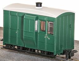 Many narrow gauge railways ran 'mixed' trains with goods wagons coupled behind the passenger coaches. The last vehicle was a brake van for the guard to ride in and ensure the entire train remained coupled. This free-lance guards and luggage van is based on the design of the Glyn Valley Tramway coaches and finished in plain green livery without lettering.