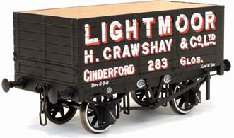 Highly detailed model of the first RCH standard design 7 plank open mineral wagon finished in Lightmoor livery as wagon number 283.Lightmoor was one of the largest collieries in the Forest of Dean and part of the Crawshay group of mineral companies, resulting in Lightmoor wagons also being used by other Crawshay collieries, with some still to be found after nationalisation.The Dapol 1887 RCH wagon is based on wagons built by the Gloucester Railway Carriage and Wagon Company, ideally suited to Forest of Dean and South Wales operators.