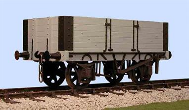 This model kit for a 5 plank open wagon built by the Gloucester Railway Carriage and Wagon company has features suggesting a RCH 1883 specification wagon. The small capacity 5 plank wagons, usually rated for 8 to 10 tons, were common in the Victorian era, but the low sides restricted the load capacity. By the early years of the 20th century the need for the larger volume capacity 7 plank wagon to contain loads of 10 tons of coal had become obvious. Quarrying companies loading stone where a 5 plank wagon comfortably contained 12 tons of product continued to use these lower sided wagons until nationalisationSupplied with metal wheels, 3 link couplings and sprung buffers