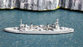 French armoured cruisers were larger than other nations because they were designed as commerce raiders rather than scouts for a battlefleet. This model is a standard Navis model with plastic topmasts to be fitted by the purchaser and they were not removed from the box for the photograph.