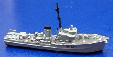 This is a waterline model of the Royal Navy's Ton Class Minesweeper. The kit contains high density resin and white metal parts and the pennant number for HMS Essington. Nine other pennant numbers are available in a seperate decal set (MTM036A). An assembly guide is also included