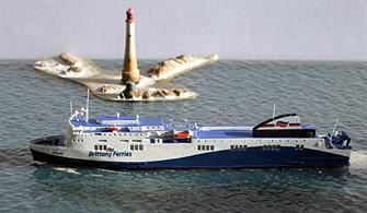 Rhenania Junior brings you Rhe Jun 260 B a 1/1250th scale diecast ship Model of the MS Etretat Ferry operated by Brittany Ferries on the Portsmouth Le Harve or Portsmouth Santander Routes.