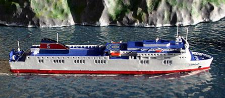 Stenaline opereates Stena Flavia a Passenger Ro/Ro Cargo Ship in the Baltic Sea and is brought to you by Rhenania a  RJ260ST 1/1250th scale diecast model