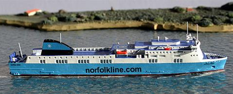 Rhenania brings you RJ260N a 1/1250th scale diecast model of the MV Scottish Viking Ferry currently operated by Stena Line between Ventspils and Nynashamn