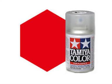 Tamiya TS86 Pure Red Synthetic Lacquer Spray Paint 100ml TS-86These cans of spray paint are extremely useful for painting large surfaces, the paint is a synthetic lacquer that cures in a short period of time. Each can contains 100ml of paint, which is enough to fully cover 2 or 3, 1/24 scale sized car bodies.