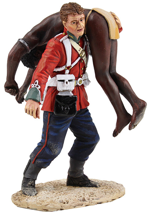 "W Britain ""Clearing the Yard"" Set No.1<p>British soldier of the 24th Regiment of Foot carrying a dead Zulu warrior.</p><p>2 Piece Set</p><p> Limited Edition of 450</p><p>1/30 Scale</p><p>Matt Finish</p>"