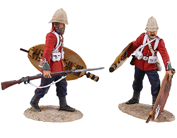 "W Britain ""Clearing the Yard"" Set No.3<p>Soldiers of the 24th Regiment of Foot collecting and stacking Zulu Shields</p><p>2 Piece Set.</p><p>Limited Edition of 450.</p><p>1/30 Scale</p><p>Matt Finish.</p>"