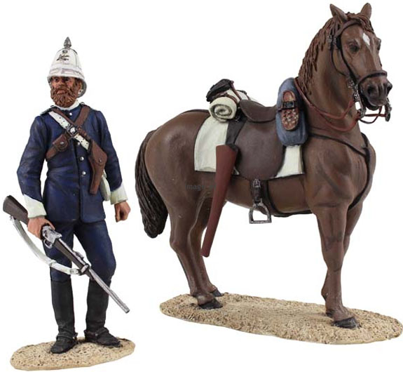 W Britain A Natal Carbineer dismounted figure with horse<p>The Natal Carbineers Regiment traces its roots to 1854 but it was formally raised on 15 January 1855</p><p>2 Piece Set</p><p>1/30 Scale</p><p>Matt Finish</p>