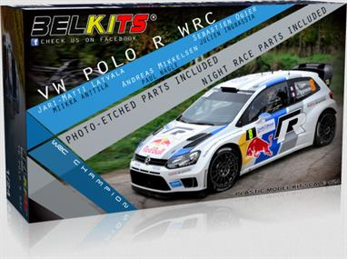 Belkits BEL-005 1/24th VW Polo R WRC 2014 World Championship WinnerThis is a nicely detailed model of the World Championship wining VW Polo. The VW team drivers included Sebastian Ogier and Jari-Matti Latvala.Length 167mm Width 77mm.