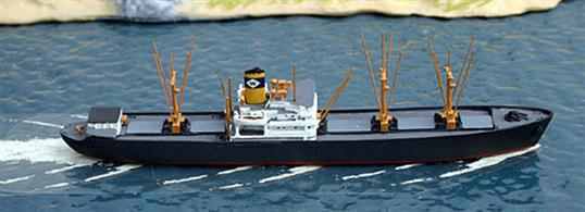 A 1/1250 scale metal model of the US freighter De Soto. The De Soto was built as a C2-S-E1 fast (16kt) freighter by Gulf Shipbuilding Corporation, Chickasaw Alabama in 1944. After the end of WW2, she was bought by Waterman Co, one of 40 similar company vessels that only differed in detail. De Soto operated from the Gulf to ports in Northern Europe, including the UK.