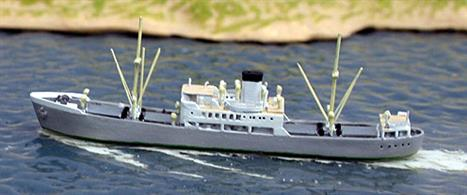 A 1/1250 scale metal model of the Portugese freighter Lagoa in 1972 when trading between the Azores and UK and Germany. Built as Villaviciosa in Bilboa in 1949 for a Spanish company, other name, Somar.