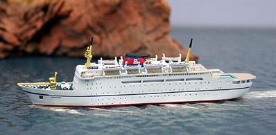 A 1/1250 scale metal model of the Danish ferry, Dana Sirena when charted by Olau and re-named Olau Dana in 1976. The model is hand-made, finished and painted in Germany.