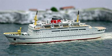 Dana Sirena, ex-Robin Hood, ex-Olau Dana, with her original name re-instated but modelled on charter to Stena line in 1977. The model is hand-made by fine German modelmaker, Risawoleska. This is a metal, finished and painted collectors model in 1/1250 scale.