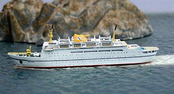Dana Sirena , the former DFDS ferry, on charter again, this time to the Norwegian BDS & Fred Olsen lines in early 1978. This metal 1/1250 scale model is hand-made, finished & painted in Germany for ship collectors by the fine modelmaker, Risawoleska.