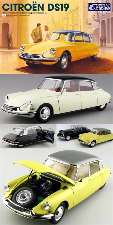 EBBRO E25005 1/24th Citroen DS19 Car KitA nicely detailed model of the revolutionary Citroen DS can be produced. Detailed instructions are included.