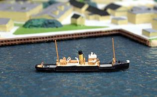 Hythe is a 1/1250 scale waterline metal model of a traditional ferry. Although built for cross-Chanel freight traffic, she was for many years employed on Southampton Water in more mundane work.