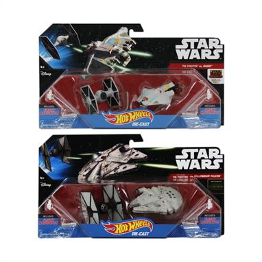 "Hot Wheels Star Wars Starship model CGW90 Two HOT brands -- Hot Wheels and Star Wars -- have joined forces! Launch into hyperdrive with some of the most iconic vehicles from Star Wars, brought to you by Hot Wheels. Fans will love recreating some of the universe's most epic battles and fiercest showdowns with these starship twin sets. Slip on the Flight Navigator, raise your hand and send your ship ""flying"" across the room -- just like in hyperspace!  The Flight Navigator also doubles as a display stand to show off your collection.Decos and details authentic to each starshipKids and fans will want to collect them allColours and contents may vary from item shown."