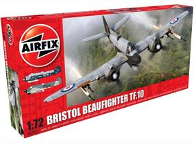 Airfix A05043 1/72nd Bristol Beaufighter TF.10 MK.X  World War 2 Fighter Bomber KitNumber of Parts 120 Length 175mm Wingspan 246mm