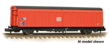 British Railways VGA design sliding door goods wagon running as a DB Cargo wagon, classified RBA finished in DB red livery.