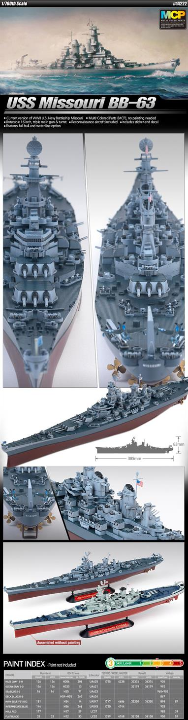 Academy USS Missouri bb-63 MCP Battleship Kit 14222Glue and paints are required to assemble and complete the model (not included)