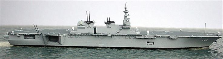 This is a 1/1250 scale model cast in metal of the Japanese DDH Izumo. A helicopter carrier designated as a helicopter destroyer. This is the largest warship built for Japan since 1945 and she is to be followed by a sistership, Kaga.
