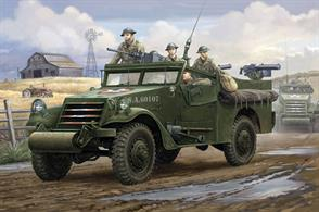 Hobbyboss 82451 1/35 Scale  M3A1 White Scout Car US Army WW2Dimensions - Length 172mm Width 74mm.The kit consists of over 240 parts and includes 4 clear plastic items for glazing etc and photo etched detailing parts. Decals and illustrated instructions are included.Glue and paints are required