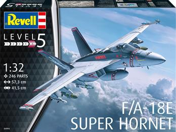 Revell 04994 USN F/A-18E Super Hornet KitNumber Of Parts 246    Length 573mm    Height 146mm    Wingspan 415mm