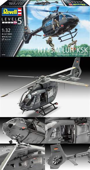 "Revell 1/32 H145M LUH ""KSK"" Surveillance & Troop Transport Helicopter Kit 04948Number of Parts 267Glue and paints are required"