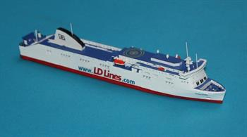 Norman Asturias is a RORO Passenger Ferry and is being used between Tangier and Algerciras in the Eastern Mediterranean and operated by Inter Shipping Line and is modelled in diecast (RJ260LD) by Rhenania in a 1/1250th scale .Former Names: Borja, Baltic AmberLength = 150mm