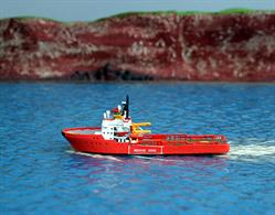 Normand Skarven is a Tug / Supply Vessel and is modelled by Rhenania Junior (RJ254) in 1/1250th scale hand-made painted metal waterline modelLength = 65mm