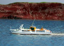 "MS Helgoland LNG-Fuelled Ferry is to be operated between the ports of Cuxhaven & Helgoland and is modelled in metal by Rhenania in a 1/1250th scale.There is an article on this innovative ship in the May 2016 ""Shipping Today & Yesterday"" magazine.Length = 65mm"