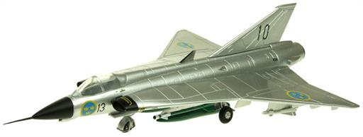 Aviation AV-72-41-004 SAAB Draken J35 Metal Scheme Swedish Airforce Jet Interceptor Model 1/72