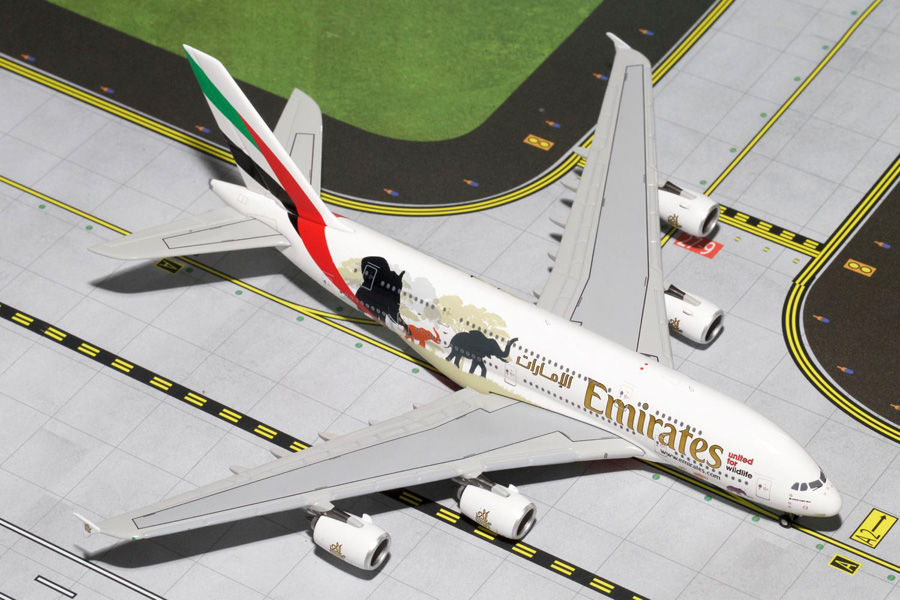 Gemini Jets 1/400 Airbus A380-800 Emirates Wildlife No.2 A6-EDG Airliner Model GJUAE1551<br>Gemini Jet brings you GJUAE1551 a 1/400th scale diecast model of the Airbus A380-800 Emirates Wildlife No.2 A6-EDG Airliner