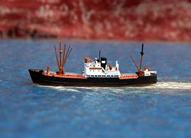 Solent Models 1/1250 scale metal model of General Steam Navigation Co. coaster, Grebe is a hand assembled and painted model measuring 60mm long.Grebe was built by Henry Robb Ltd en 1947 and worked out of Southampton to Northern European ports. She was scrapped in Wales in 1967.