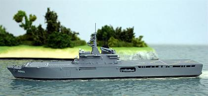 A 1/1250 scale model of Shimokita, a Japanese Maritime Defence Force dock landing ship completed in 2002.