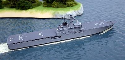 A 1/1250 scale model of Kunisaki, a Japanese Maritime Defence Force dock landing ship from 2003.