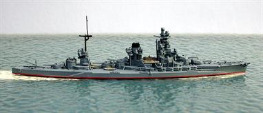 A 1/1250 scale metal model of the Japanese battleship Hyuga in 1942 at the battle of Midway. X-turret has been removed and replaced by an AA tower.
