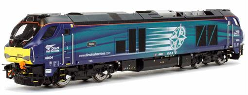 Dapol 4D-022-013 00 Gauge DRS 68004 Rapid Class 68 Diesel Locomotive Model Compass LiveryHighly detailed model of the DRS class 68 diesel locomotives finished as 68004 Rapid in DRS Compass livery.