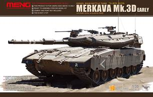 The Merkava Mk.3D MBT model kit in 1/35 scales with length 258mm and width 111mm.Precise reproduction of the turret characteristics of the Merkava Mk.3D. Two options for road wheels and driver's hatch. The headlights can be opened and closed as you like. All periscopes can be made open and closed. The subtle tie-downs at the rear of the turret are easy to assemble. Two options for painting styles