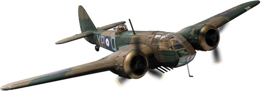 "Corgi Aviation Archive 1/72 die-cast model of a Bristol Blenheim Bomber Mk.I L6739 (G-BPIV ) that is preserved at the Imperial War Museum, Duxford.<br><span class=""yui-non""> </span><br>Wingspan 230mm"