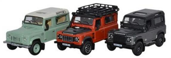 Oxford Diecast 76SET47 1/76th 3 Piece Land Rover Defender 90 Set