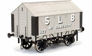 A new detailed model of a 7 plank sided covered lime wagon with peaked corrugated iron roof based on RCH 1887 design specifications in service with the Steetley Lime & Basic Company, lettered S L B. Due to the specialised design for the load carried these vans ran on into the 1950s before being replaced with more modern wagons.This new design add to the range and specification of O gauge ready to run wagons, featuring a diecast chassis for added weight and compensation beams for smooth running.British Manufacturing. Dapol plan to be producing these models from their factory unit in Chirk.