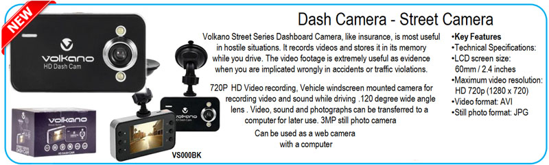 "<span style=""line-height: 1.22;"">Volkano Street Series Dashboard Camera, like insurance, is most useful in hostile situations. It records videos and stores it in its memory  while you drive. The video footage is extremely useful as evidence  when you are implicated wrongly in accidents or traffic violations</span>"