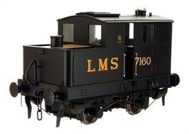After testing the former GWR 12 the LMS ordered a batch of 4 Sentinel two-speed locomotives for light shunting duties. Delivered in 1930 7160 was the first of these and at nationalisation was based at Sutton Oak shed.Finished in LMS black livery.DCC and Sound Fitted.