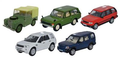 Oxford Diecast 1/76 5 Piece Land Rover Classic Set 76SET49
