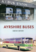 "A full colour photographic guide to the changing<font color=""#ff0000""> buses</font> and operators in Ayrshire from the 1960's through till the 1990's.<br>Author: David Devoy.<br>Publisher: Amberley.<br>Paperback. 96pp. 16cm by 23cm."