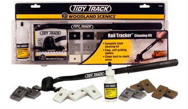 Clean track with your eyes closed! The Rail Tracker cleaning tool actually follows the track and hugs the rail while you clean, and makes it easy to clean hard to reach areas, like inside tunnels, around structures and under power lines. Kit includes all you need to clean and maintain your track. Package doubles as a tray for storage. Replacement pads available. Designed to work on N, HO, HOn3 and three-rail O scale track.