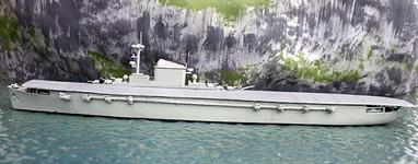 A 1/1250 scale metal model of the proposed conversion of the German transatlantic liner, Europa, to an aircraft carrier during WW2. The conversion was never carried out but outline plans were produced and the model has been built to those.